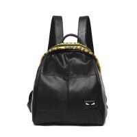 双肩包女2018新款学院风女包多功能三用软皮彩色织带小背包旅行包