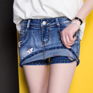 Modern idea女装蝴蝶假两件牛仔短裤裙淑女风时尚显瘦2017学生潮流短裤范