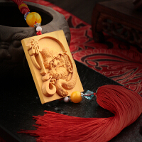 红木平安车饰品摆件财神佛像手把件黄杨木雕刻佛牌流苏汽车挂件