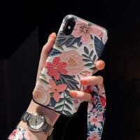 浮雕苹果x手机壳iphone7软硅胶xsmax挂绳8plus网红同款6s潮牌xr女 6/6s 4.7寸 深色