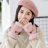 半指翻盖手套女冬可爱保暖学生写字情侣露指