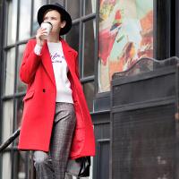 [2.5折价143.9元】唐狮秋冬新款呢大衣女纯色西装领中筒中长款外套红色宽松时尚