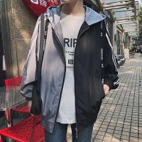 春季韩版宽松假两件拼色条纹长袖连帽开衫学生运动夹克短外套男