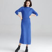 加长针织连衣裙女2018新款秋冬季加厚打底衫中长款毛衣长裙过膝盖 蓝色 S