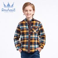 .水孩儿童装冬装男童厚衬衫格子夹棉保暖衬衣ASEDH503