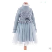 女童连衣裙冬蕾丝花边纱裙小女孩公主裙洋气儿童裙子