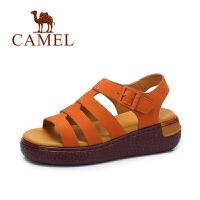 Camel/骆驼女鞋 夏季新款 舒适厚底摇摇鞋女 一字扣厚底凉鞋