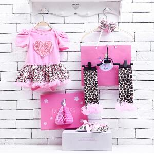 货到付款 Yinbeler女婴儿哈衣短袖棉春夏新生儿0-12个月满月礼物女宝宝公主裙立体礼盒套装心形