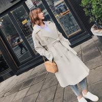 欧洲站2018秋冬季新款韩版女装中长款风衣女宽松过膝收腰系带外套 米白色