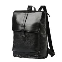 双肩背包潮流学生包双肩包男韩版皮质 潮流翻盖抽带时尚背包书包 商务双肩包