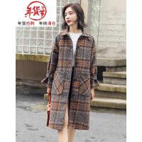 森系格子毛呢外套女中长款韩版女士新款2018流行呢子大衣女装妮子