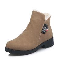 靴子女厚底棉鞋女冬2019新款加绒磨砂短靴女平底坡跟妈妈时尚女靴