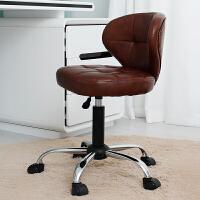 旋转椅可升降吧台靠背椅子椅简约酒吧椅美容凳子旋转吧椅高脚凳吧凳 棕色黑杆 格子椅