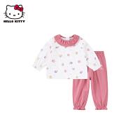 hellokitty女童家居服2021春季新款睡衣套装婴儿宝宝纯棉两件套