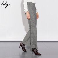 【不打烊价:209.7元】 Lily春新款女装商务通勤英伦气质格纹修身微喇裤长裤5911