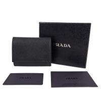 Prada普拉达黑色十字纹皮质摁扣零钱包 2M1386 黑色 7*7*2cm