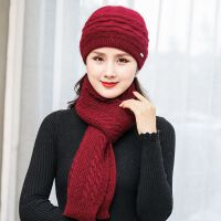 秋冬款女士兔毛毛线贝雷帽时尚新款双层加厚套头帽子冬季保暖冬帽