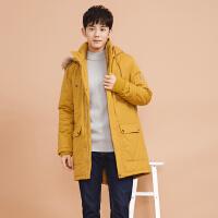 美特斯邦威棉衣男冬季新款派克大衣中长棉服外套潮流