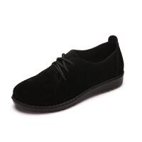 老北京布鞋女鞋透气舒适英伦休闲复古小皮鞋女平底系带布洛克单鞋 黑色 女F2