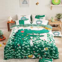 纯棉卡通床上用品四件套100全棉男孩儿童床单被套三件套女孩恐龙