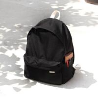 韩国新款双肩包女背包防水时尚简约纯色书包中学生女百搭 黑色 现货