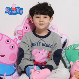 【促】小猪佩奇正版童装男童秋装乔治印花加绒长袖套头厚卫衣