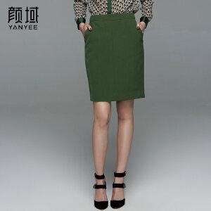 颜域品牌女装2017夏季新款OL优雅修身包臀半身裙显瘦职业西装裙女