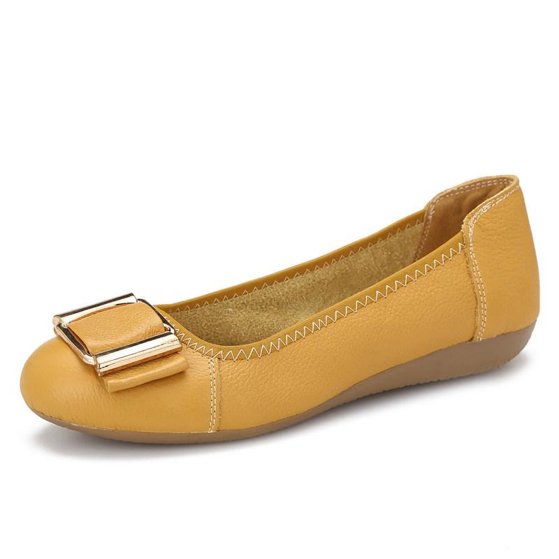 妈妈鞋软底春季女鞋坡跟平底单鞋中老年老人鞋舒适豆豆鞋