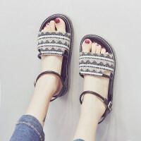 网红厚底凉鞋女2019新款学生百搭夏季女士女鞋平底罗马沙滩鞋