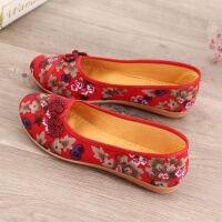 老北京布鞋春秋新款一脚蹬中老年老太太妈妈女鞋软底婆婆单鞋 806红色 标准码