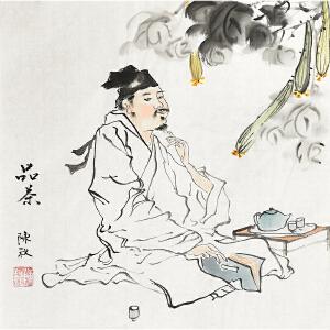 当代著名画家陈秋34 X 34CM人物画gr01235