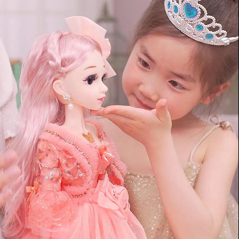 芭比洋娃娃套装女孩公主儿童玩具单个仿真布 眨眼智能版:60cm3套衣服布鞋休闲五件套