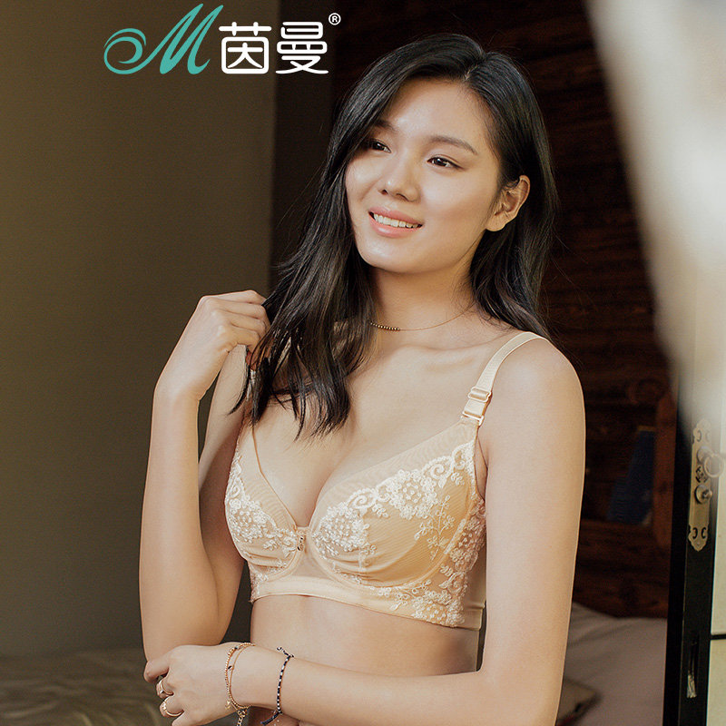 包邮 茵曼内衣  蕾丝性感大胸显小薄款聚拢文胸女 9871432127