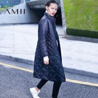 Amii[极简主义]冬新品温暖气质立领拉链菱形格棉衣女11634736.