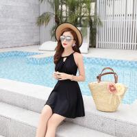 2018夏季裙式连体泳衣女 韩版纯色保守泳衣女士泳装一件 碎花印花 黑色