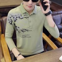 2018春秋季男士长袖t恤韩版衬衫领个性秋衣翻领上衣服男装polo衫