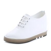 内增高小白鞋女夏款坡跟透气洞洞旅游休闲鞋厚底单鞋 白色皮单鞋 系带款