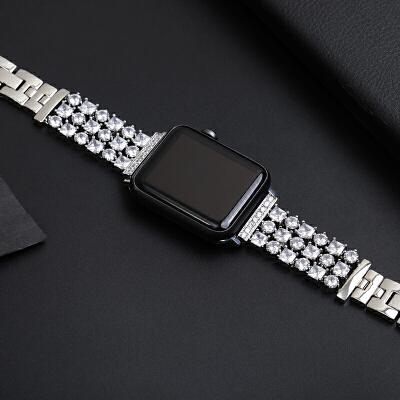新款不锈钢镶钻苹果apple watch1/2/3/4表带金属42mm38配件iwat