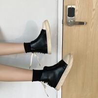 马丁靴女士高帮帆布鞋女学院风运动板鞋韩版原宿百搭休闲大头皮鞋 黑色