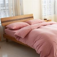 天竺棉四件套条纹针织棉4件套全棉床上用品床笠床单