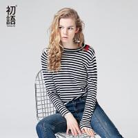 初语秋季新款圆领撞色条纹毛衣