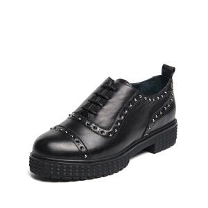 【星期六集团大牌日】D:Fuse/迪芙斯秋季牛皮圆头铆钉中跟深口单鞋女鞋DF63112023