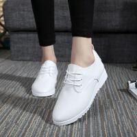 春秋韩版女士小皮鞋全黑系带工作鞋上班鞋白鞋平跟平底休闲单鞋潮