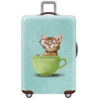 拖拉行李箱外罩行李箱保护套外罩耐磨加厚弹力男女开学旅行箱子猫咪可爱绘画卡通 茶杯猫XL(29-32寸) 不是箱子 是箱