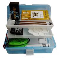 美术用品9件套工具 马利12色国画颜料套装 毛笔+墨汁+宣纸+颜料 学生儿童中国画颜料用品马利12色