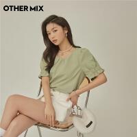 七格格OtherMix泡泡袖抹茶雪纺衫2021年夏季新款韩版套头褶皱短袖女上衣