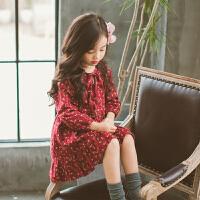 女童连衣裙秋冬款长袖碎花童裙女孩裙子宝宝公主裙