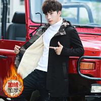 男士外套秋冬季2018新款韩版潮流加绒加厚夹克中长款冬装帅气风衣