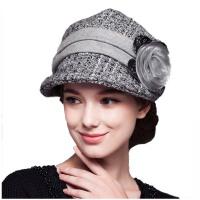 秋冬女士帽子花朵休闲小礼帽毛呢帽
