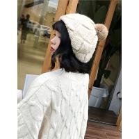 兔毛球针织帽手工编织贝雷毛线帽秋冬季格子纯色保暖帽子